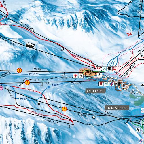 Tignes Val dIsre Ski map Tignes Huge ski area French Alps